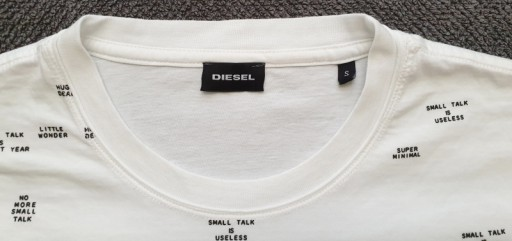DIESEL męska biała koszulka S 10041567271 Odzież Męska T-shirty RP LLIZRP-2