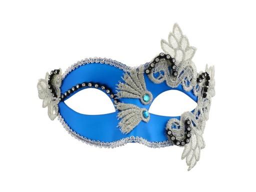 Maska karnawałowa wenecka niebieska sylwester bal