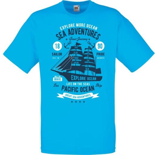 Koszulka kotwica żeglarz żegluga żagle morze XL 10024479596 Odzież Męska T-shirty JW GGMOJW-4