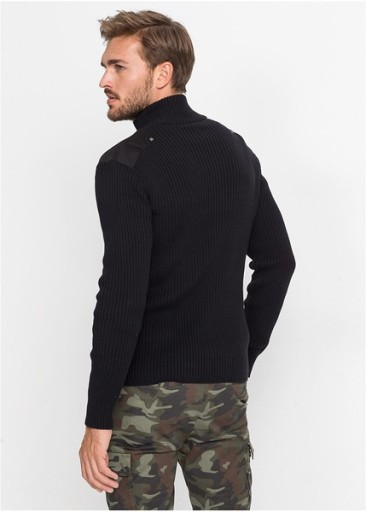 *B.P.C Sweter czarny męski z guzikami L. 10758951851 Odzież Męska Swetry OA VDESOA-2