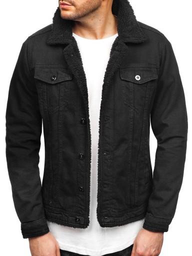 kurtki jeansowe czarne męskie