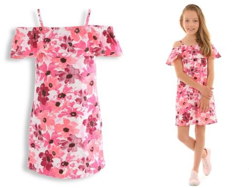 Sukienka z falbanką, HISZPANKA 152-158 KWIATY