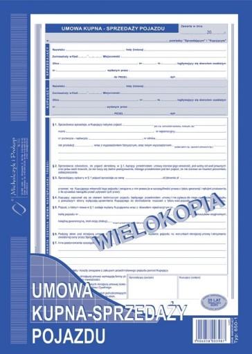 Umowa Druk Kupna Sprzedazy Pojazdu A4 7211398226 Allegro Pl