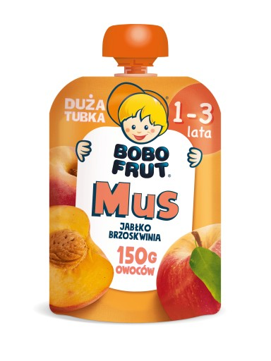 BOBO FRUT mus w tubce jabłko brzoskwinia 150g