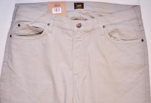 LEE spodnie BEIGE slim regular RIDER _ W38 L34 10736134527 Odzież Męska Jeansy AN VTWJAN-3