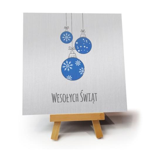 """Kartka bożonarodzeniowa """"Bombki Blue"""""""