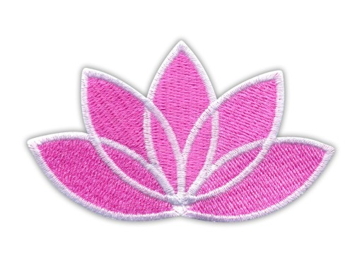 Naszywka Kwiat Lotosu różowy - biała ramka - HAFT