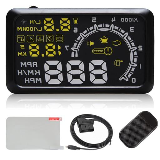 WYŚWIETLACZ PROJEKTOR LED LCD HUD OBD2 5.5 ZEGARY