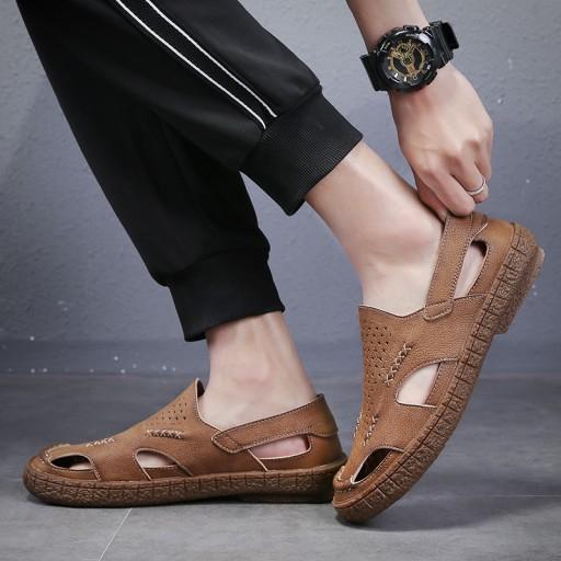 Sandały kapcie modne buty wsuwane męskie skorzane 10530004094 Obuwie Męskie Męskie ER AJUEER-5
