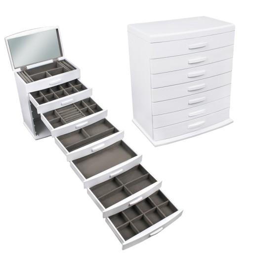 kuferek biały szkatułka na biżuterię drewno komoda