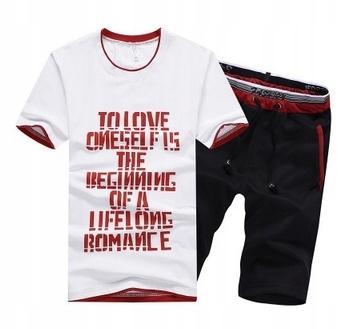 Męski LATO Komplet Napisy Spodenki + T-shirt r.3XL 10686821876 Odzież Męska Komplety KQ BEMBKQ-7
