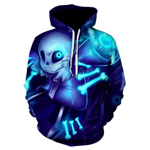 kapturem z nadrukiem cyfrowym Skull Sweter męski 9813464329 Odzież Męska Swetry UR OQECUR-2
