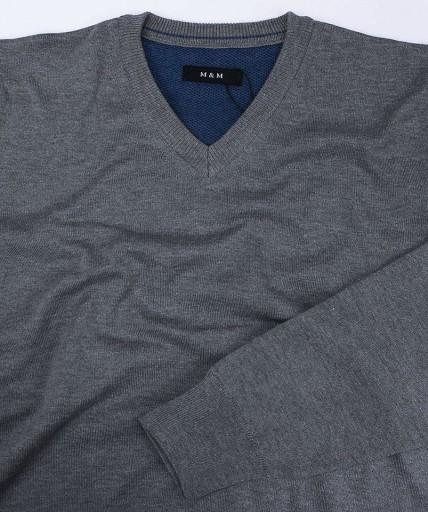 Popielaty Sweter Męski V-neck -MM Classic- 3XL 9954358160 Odzież Męska Swetry HL MKCTHL-9