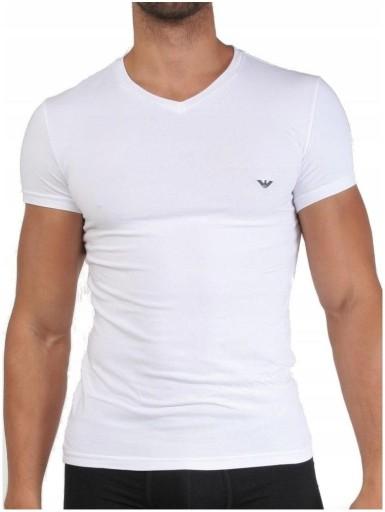 ARMANI Emporio _ White T-shirt V-neck _ L 10675083283 Odzież Męska T-shirty HV OEIDHV-4