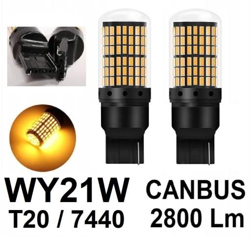2szt Mocne żarówki LED T20 7440 WY21W 2800l CANBUS