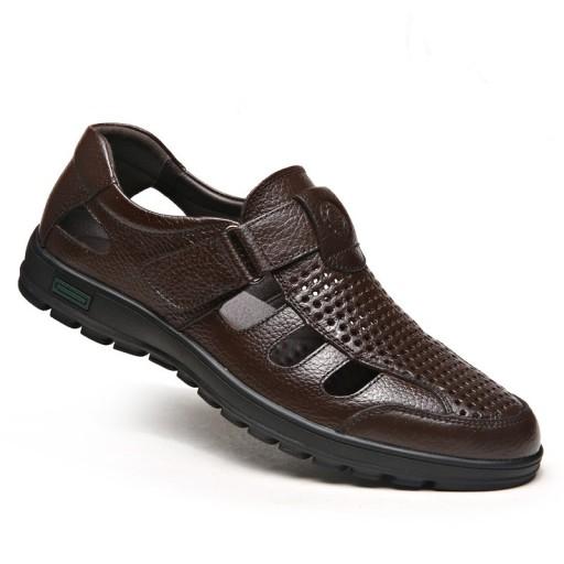 Sandały buty kapcie slubne skorzane męskie na lato 10501689163 Obuwie Męskie Męskie AT AOROAT-6