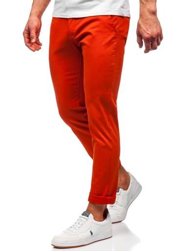 SPODNIE CHINOSY MĘSKIE POMARAŃCZOWE 1143 DENLEY_34 9362860541 Odzież Męska Spodnie NH UEWENH-6