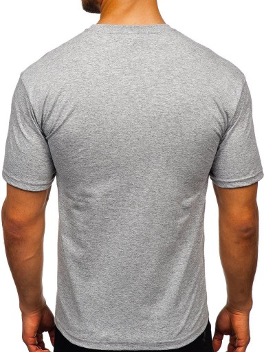 T-SHIRT MĘSKI Z NADRUKIEM SZARY 14333 DENLEY_M 10163977638 Odzież Męska T-shirty KR VAIFKR-4