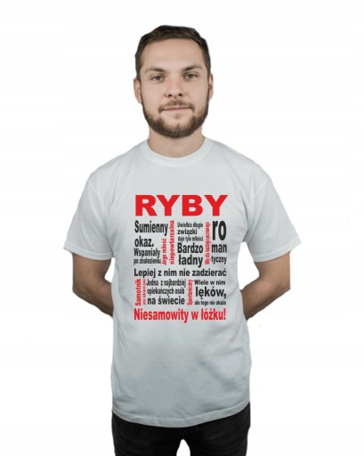 Koszulka męska ZNAK ZODIAKU RYBY r XXL 9484533667 Odzież Męska T-shirty XB CAHPXB-1