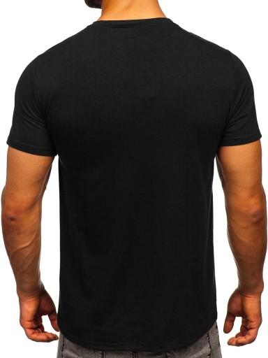 T-SHIRT MĘSKI Z NADRUKIEM CZARNY S10035 DENLEY_L 10778601933 Odzież Męska T-shirty FK AWVHFK-8