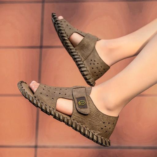 Sandały modne buty kapcie robocze męskie skorzane 10566799398 Obuwie Męskie Męskie WW LJXYWW-5