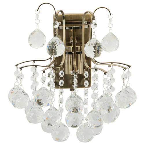 Kinkiet Lampa ścienna ELEM 62471 kryształ mosiądz