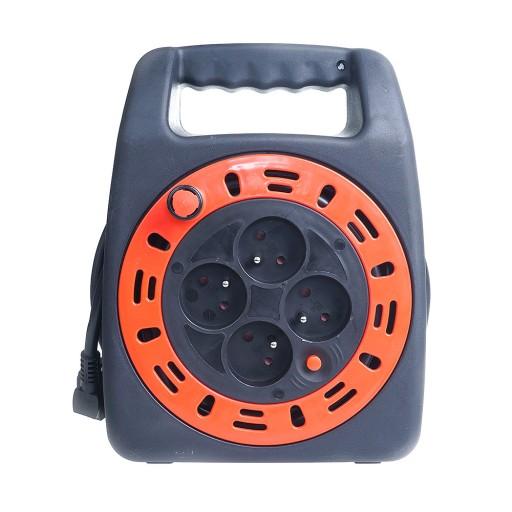 Przedłużacz zwijany w kasecie z lampką 15m 4 gn