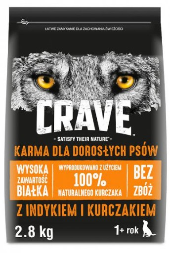 Crave Dog Adult z kurczakiem i indykiem 2.8kg