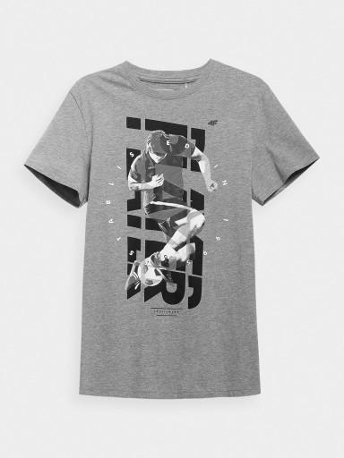 4f T-shirt męski H4L21-TSM011 szary melanż r. XL 10611787466 Odzież Męska T-shirty HW BZARHW-5