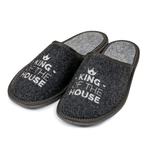 Pantofle męskie filcowe haft KING OF THE HOUSE 44 9410348439 Obuwie Męskie Męskie LE AEEELE-4