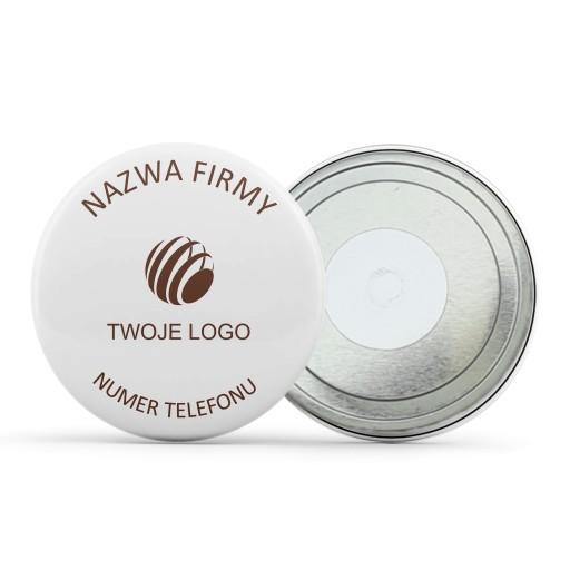 Okrągłe magnesy dla firmy z logo, nazwą i numerem