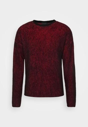 E1I106*SWETER CZERWONO CZARNY MENNACE M A00 10769574660 Odzież Męska Swetry CU BQFYCU-4
