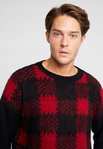 BE EDGY ciepły sweter w kratkę L/XL Alpaka C32 10006713099 Odzież Męska Swetry IJ VMYQIJ-7