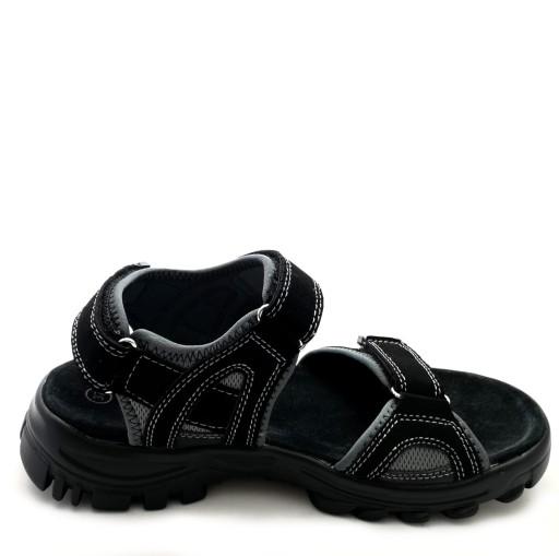 Sandały czarne sportowe SKÓRA AmericanClub RD04/20 9502799565 Obuwie Męskie Męskie XZ HNTNXZ-7