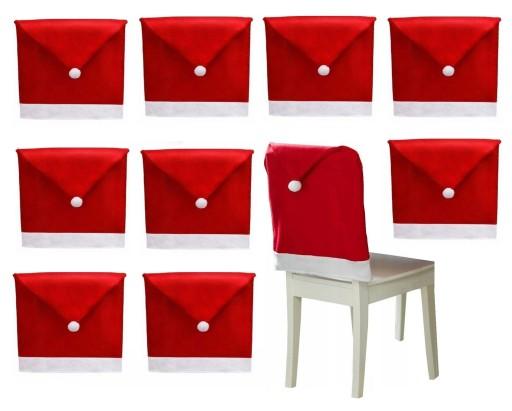 10 x Pokrowiec Świąteczny krzesło CZAPKA MIKOŁAJA