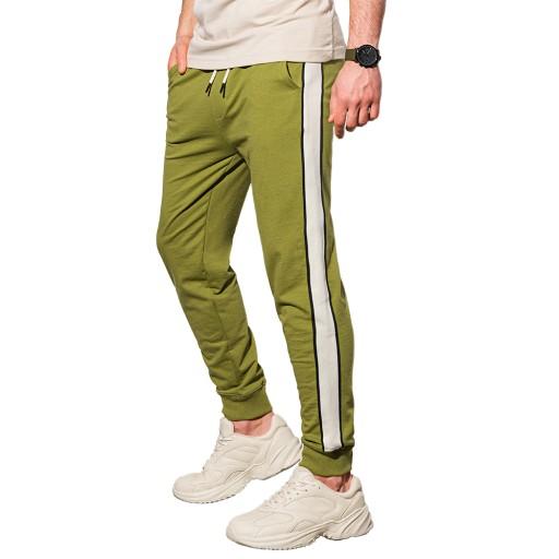 Spodnie męskie dresowe joggery P951 oliwkowe XL 10652818470 Odzież Męska Spodnie TP VNQPTP-8