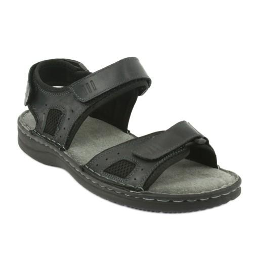 Komfortowe sandały skÓrzane czarne r.41 10053401803 Obuwie Męskie Męskie IA HGVBIA-7