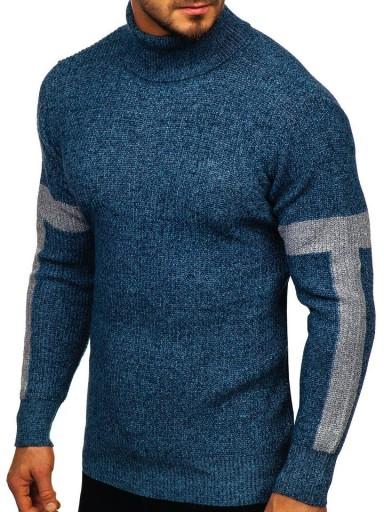SWETER GOLF KLASYCZNY NIEBIESKI H1927 DENLEY_L 8758681162 Odzież Męska Swetry TQ HCWPTQ-4