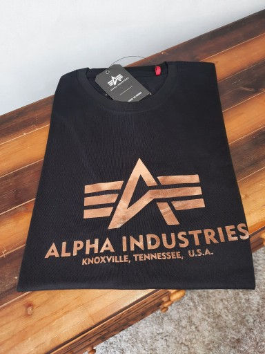 Alpha Industries T-shirt Basic Foil Print L 10729893261 Odzież Męska T-shirty FH YVNLFH-7