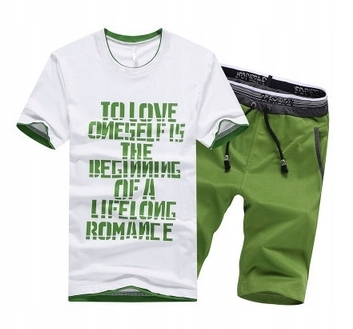 Męski LATO Komplet Napisy Spodenki + T-shirt r.M 10726409658 Odzież Męska Komplety ZF IUCVZF-8