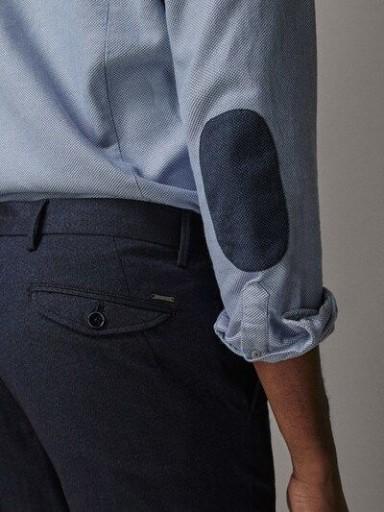 MASSIMO DUTTI granatowe spodnie jodełka slim 46 10763846097 Odzież Męska Spodnie HP XTCQHP-4