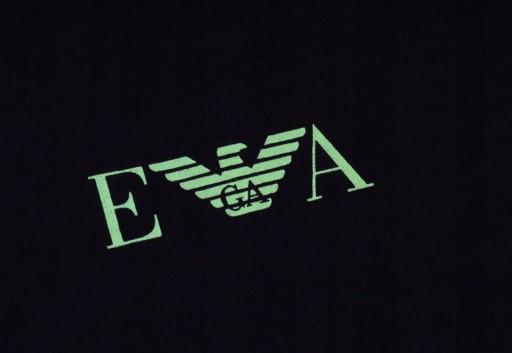 EMPORIO ARMANI Czarny T-shirt Zielone Logo _ L 10677316703 Odzież Męska T-shirty OE MKJIOE-6
