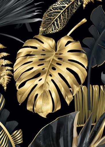 Monstera złota Plakat Plakaty B2 70x50cm Papier200