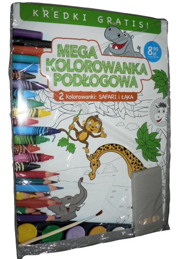 Mega Kolorowanka Podłogowa 2 szt - SAFARI i ŁĄKA