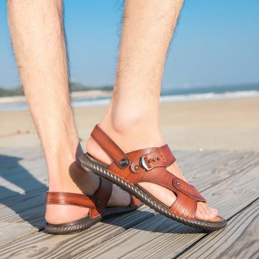 Sandały modne buty kapcie męskie skorzane na lato 10552618674 Obuwie Męskie Męskie LA WNZMLA-7