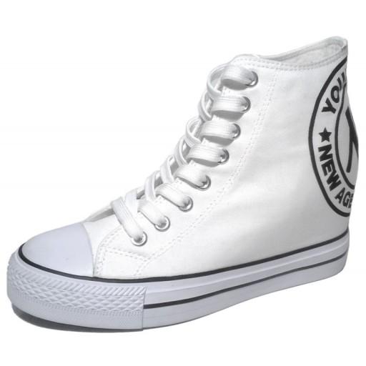 New Age Biale Sneakersy Trampki Na Koturnie 36 41 9290497738 Allegro Pl