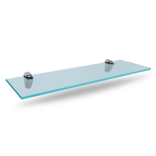 Szklana półka pod lustro 70 cm z uchwytami