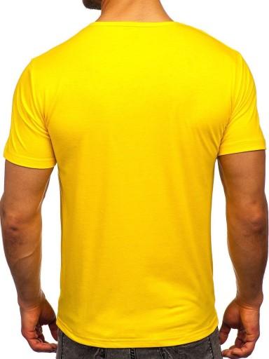 T-SHIRT MĘSKI Z NADRUKIEM ŻÓŁTY KS2616 DENLEY_M 10501800364 Odzież Męska T-shirty UL PTZRUL-9