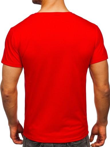 T-SHIRT MĘSKI KOSZULKA CZERWONA Y70015 DENLEY_M 10556339534 Odzież Męska T-shirty VP BIVAVP-6