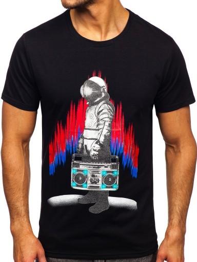 T-SHIRT MĘSKI Z NADRUKIEM CZARNY S10023 DENLEY_XL 10552534874 Odzież Męska T-shirty CE TWDMCE-5